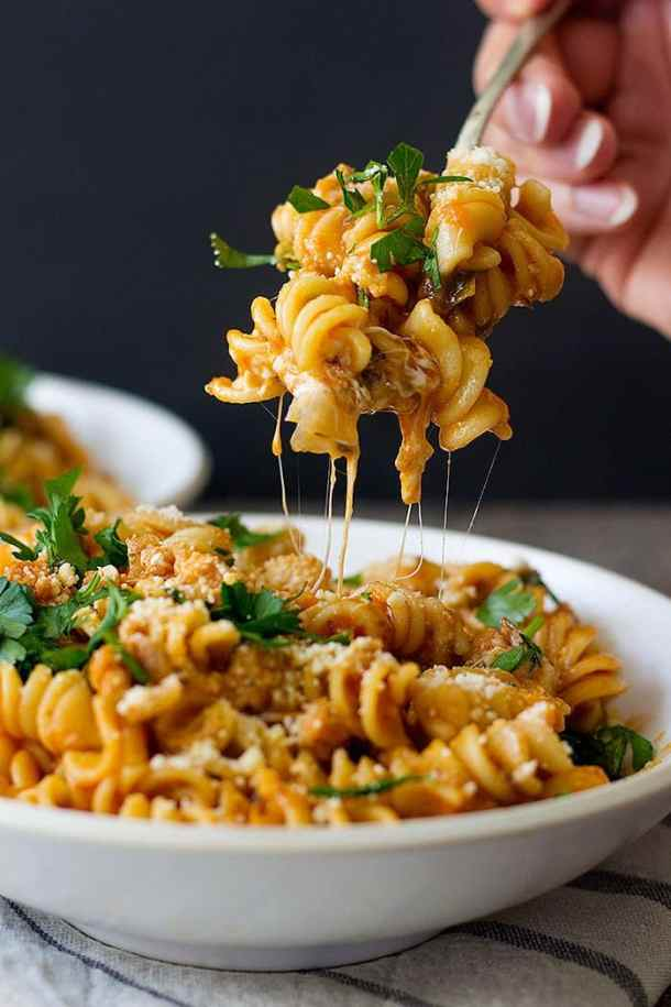 This Italian sausage pasta is great with some extra mozzarella.