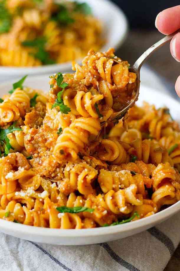 Italian sausage pasta made by instant pot is an easy quick dinner that the whole family will love. This one pot sausage pasta is the perfect dish for busy weeknights!