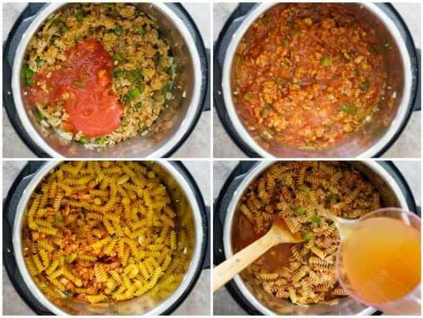 To make Instant pot pasta saute onion, garlic, bell pepper and sausage the add tomatoes, pasta and broth.
