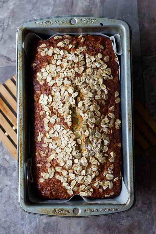Let easy banana bread cool in the pan for ten minutes.