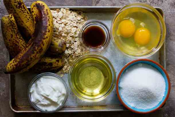 For oatmeal banana bread recipe, you need bananas, oatmeal, flour, yogurt, eggs, vanilla, vegetable oil.