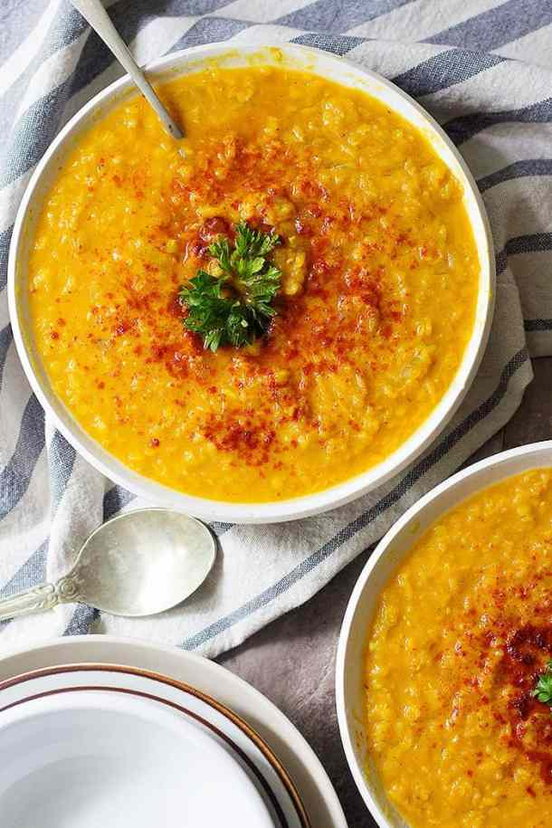 This is the only red lentil soup recipe you ever need! Creamy lentil soup with turmeric and ginger is full of flavors and very comforting. It's a quick and easy soup that everyone loves!