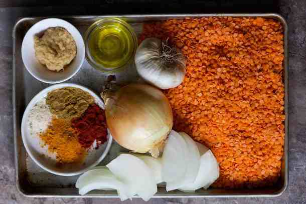 To make spicy red lentil soup you need red lentils, onion, garlic, spices and olive oil.