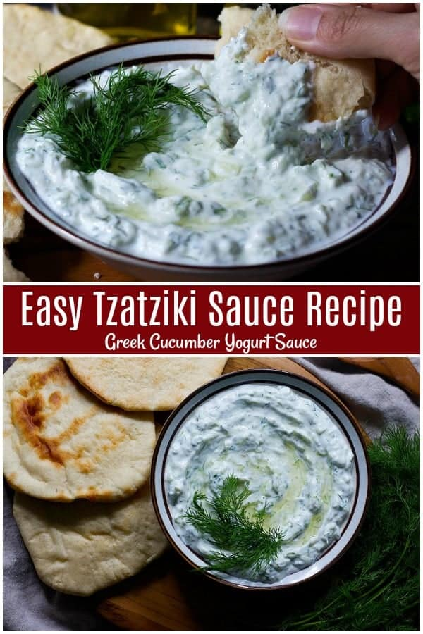 This easy tzatziki recipe is a keeper. This Greek cucumber sauce is made with just a few ingredients in only 10 minutes and it's perfect for vegetables, meat, or simply a dip. #tzatziki #tzatzikisauce #Greekrecipes #Mediterraneanfood #Yogurt