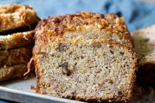 Coconut Banana bread has a great texture with walnuts.
