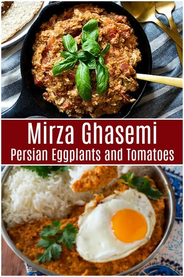 Mirza Ghasemi is a Persian eggplant and tomato dish that's very flavorful. This vegetarian eggplant recipe is super easy to make and everyone will ask for seconds! #mirzaghasemi #persianrecipe #persianfood #eggplants #tomatoes