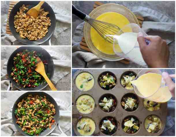 To make sausage cheese breakfast muffins, saute sausage and spinach and peppers. Make the eggs and milk and fill the cups.