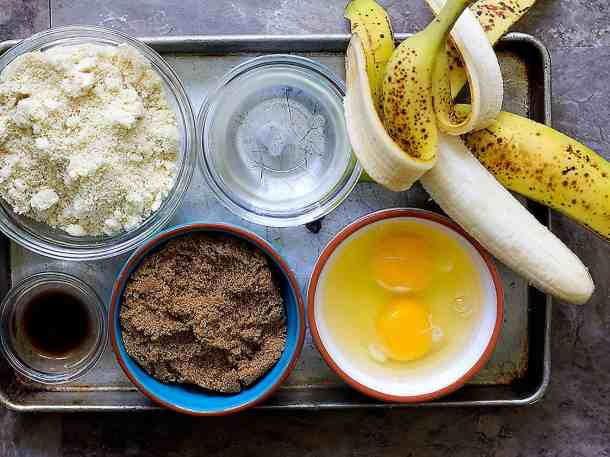 To make almond flour banana bread you need almond flour, coconut oil, bananas, eggs, brown sugar and vanilla.