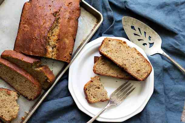 Easy Banana bread made with almond flour has great texture.
