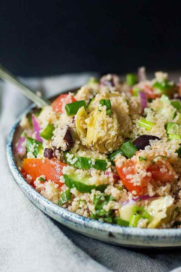 This Mediterranean couscous salad is best served cold.