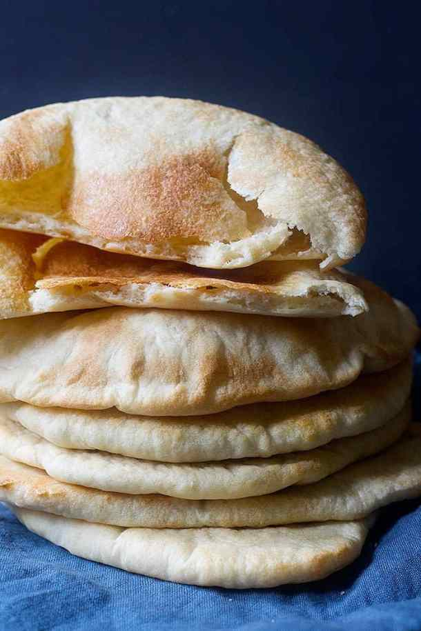 A delicious stack of pita bread freshly out of oven.