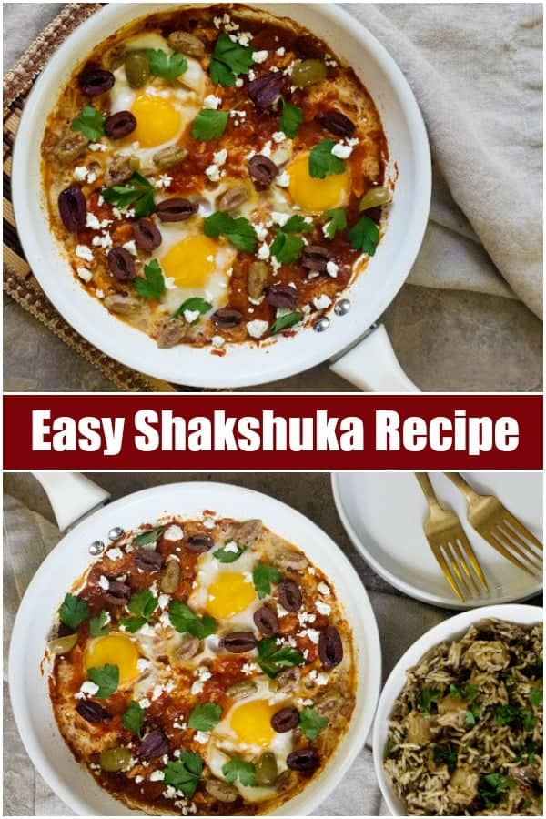 Turn your breakfast into a full meal with this easy shakshuka served with a delicious potato pilaf. This easy shakshuka is perfect for any time of the day and can be prepared quickly! #shakshuka #easyshakshuka #shakshukarecipe #middleeasternfood