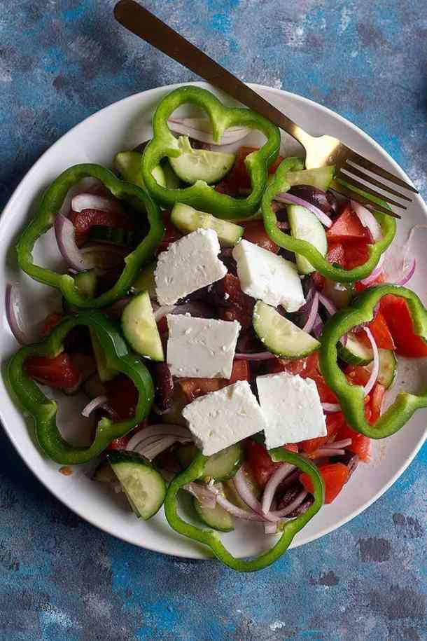 This easy Greek salad recipe requires chunks of creamy feta.