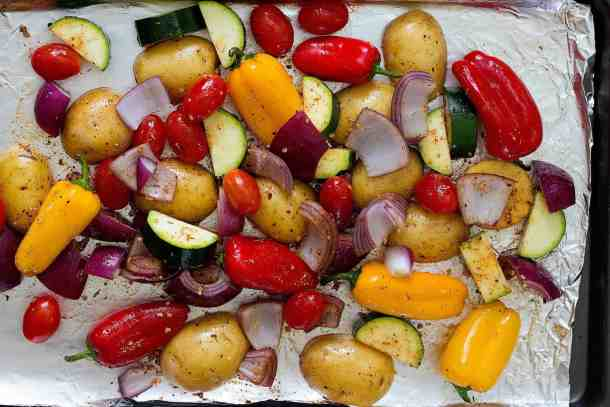 Place all the vegetables on a baking sheet and roast for 25 minutes.
