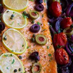 Oven Baked Alaska Salmon with Olives and Capers
