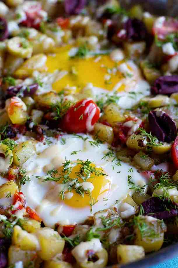 Make sure not to overcook the eggs for breakfast hash.
