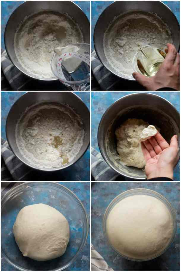 Start by placing 4 cups of flour, yeast, salt and sugar in a stand mixer bowl. Add in warm water and vegetable oil.