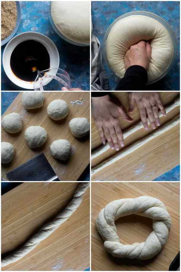 Roll out two of the dough pieces into 25 inch tubes each. Place them parallel to each other and roll in opposite directions to make a twist