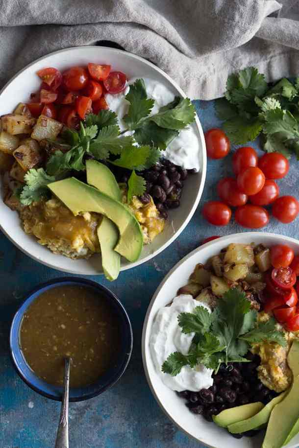 homemade breakfast bowls made with eggs avocados and beans