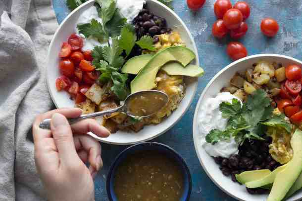 Avocados and tomatoes are great for breakfast bowls.