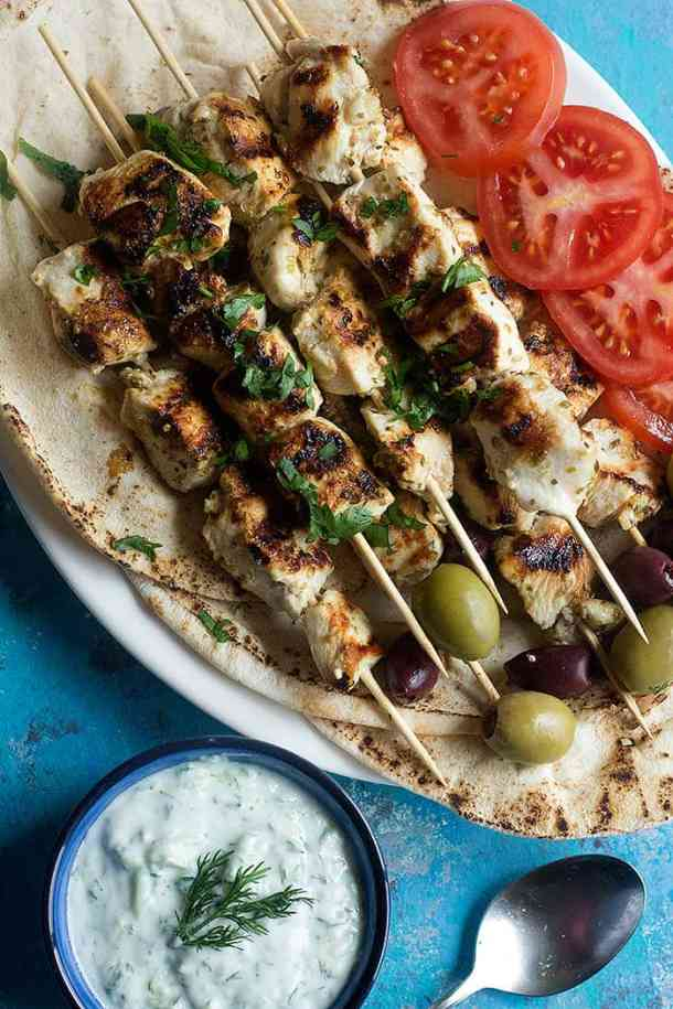 Summer grilling recipe idea: chicken souvlaki can be made in the grill pan or on the outdoor grill.