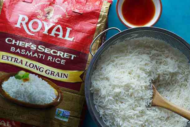 par cook the rice and rinse it in a colander.