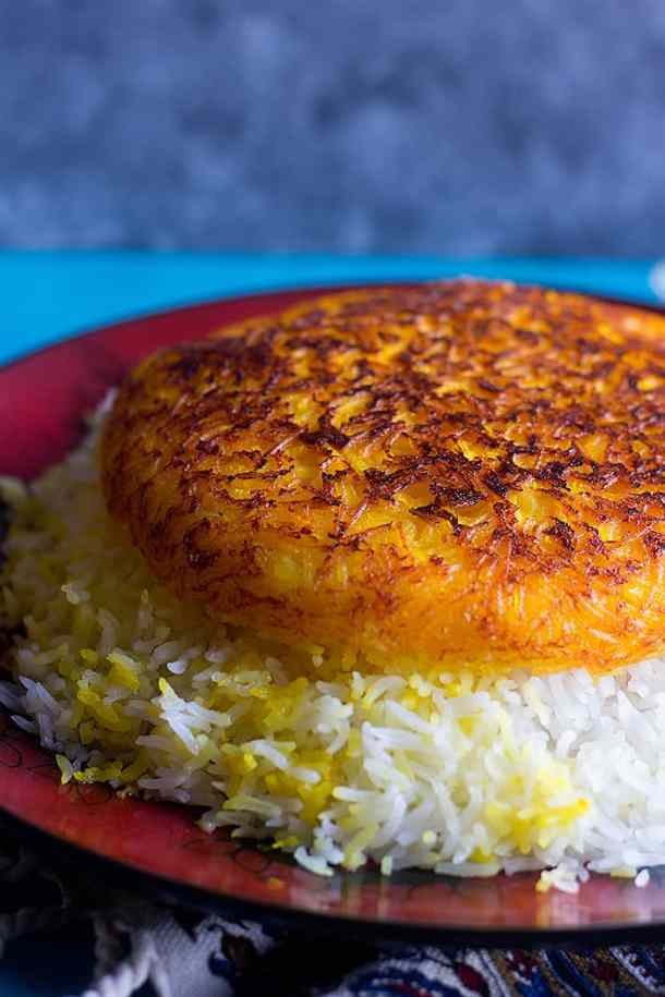 Persian saffron rice with crusty tahdig.