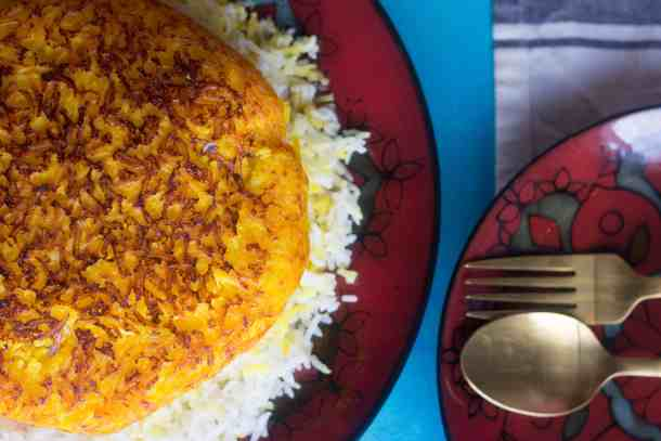 golden saffron crust for Persian rice.