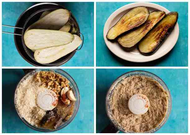 salt the eggplants, wash and dry them. Fry the eggplants and place them in a food processor with other ingredients and blend well.