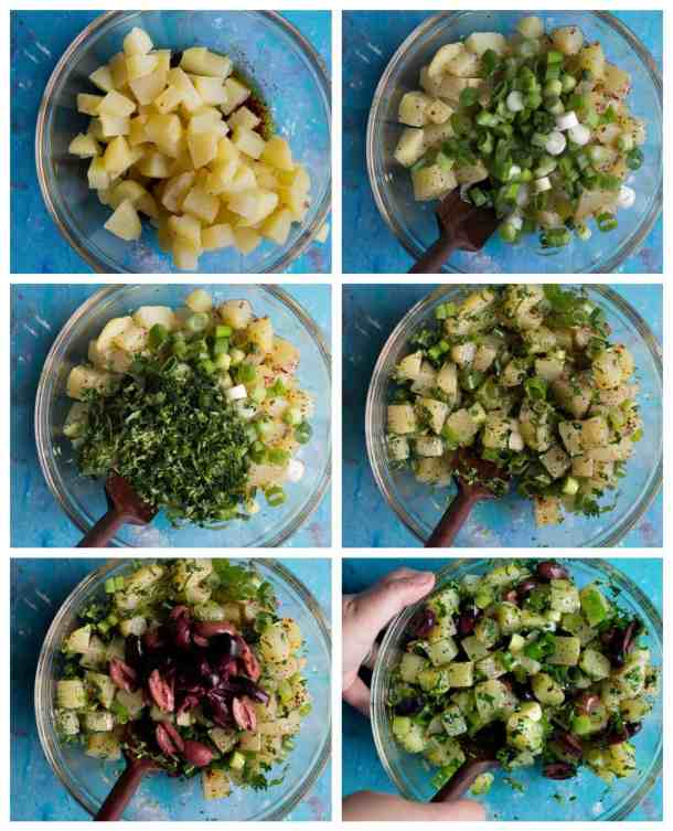 add chopped potatoes to the dressing, add herbs and mix add olives and mix.