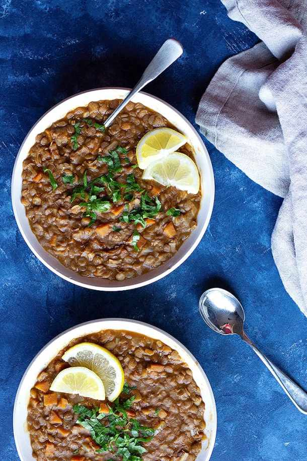 easy and quick instant pot soup made with lentils and vegetables.