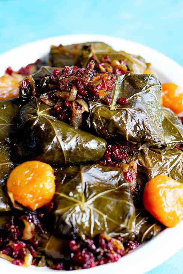 Dolmeh is a traditional Persian/Iranian dish and a family favorite. This version of stuffed grape leaves is made with meat, rice and herbs.