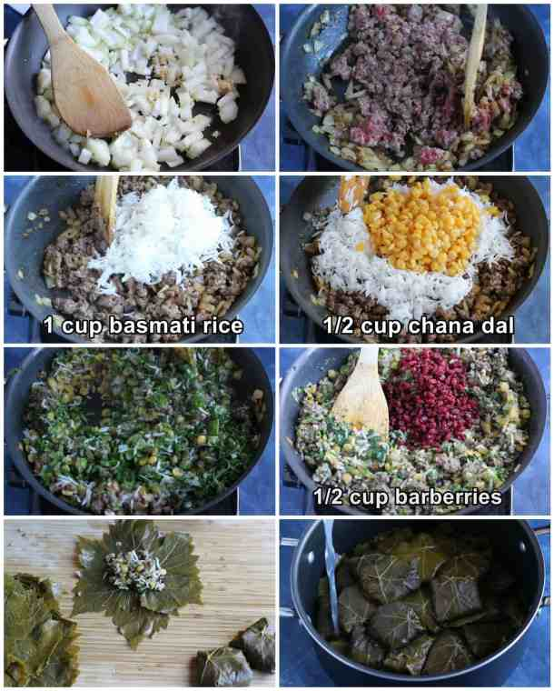 saute onion and garlic then add ground beef and rice then add chana dal and herbs. Add barberries and then wrap and cook.