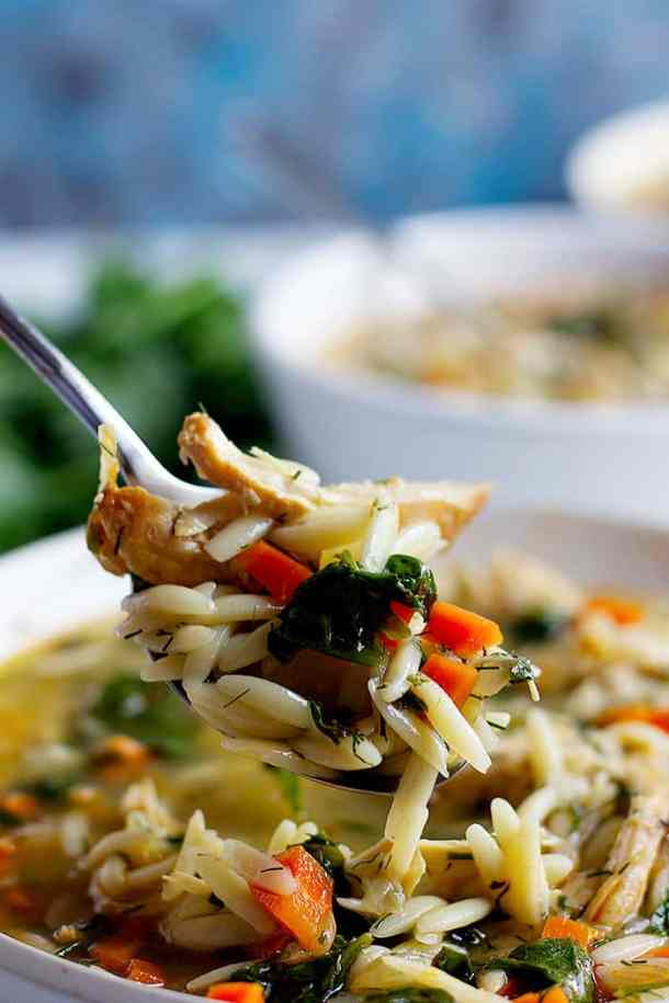 Greek lemon chicken orzo soup is easy, simple and full of flavor.
