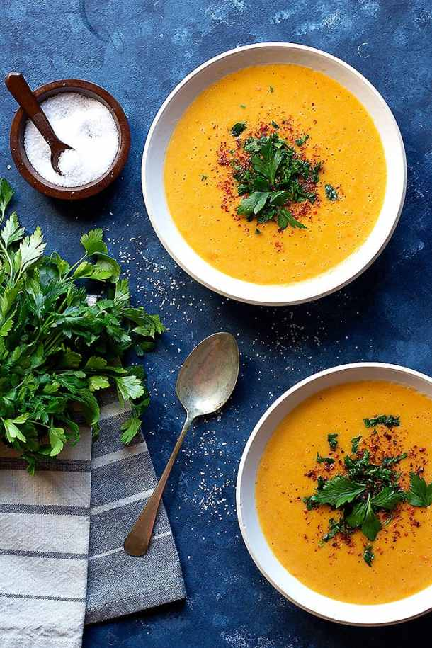 Turkish red lentil soup is best served with a squeeze of lemon. This gluten free and vegan soup is so simple to make at home.