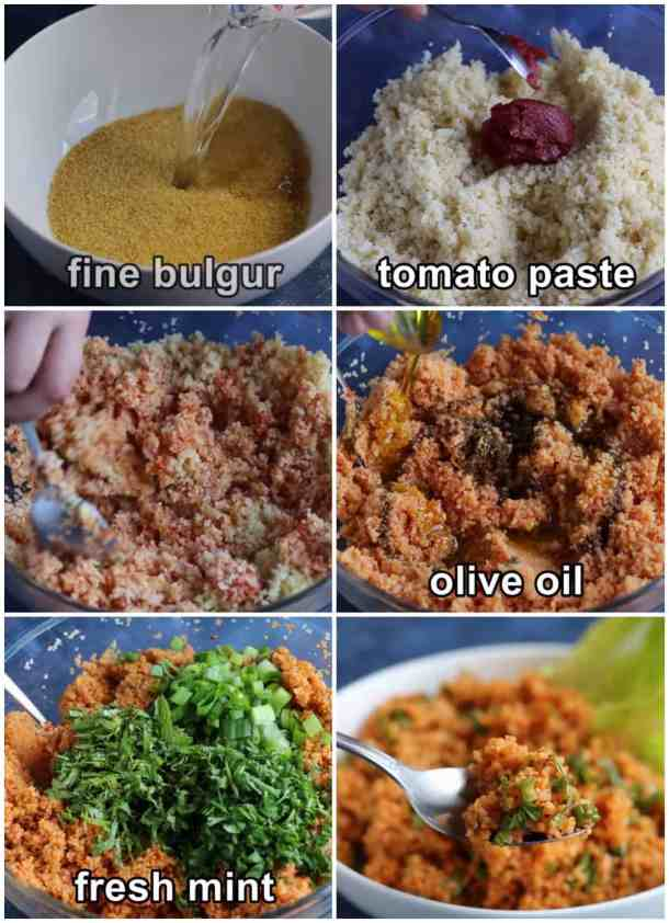 Cook bulgur then add tomato paste and mix add pomegranate molasses and olive oil and spices. Add herbs and mix and serve.