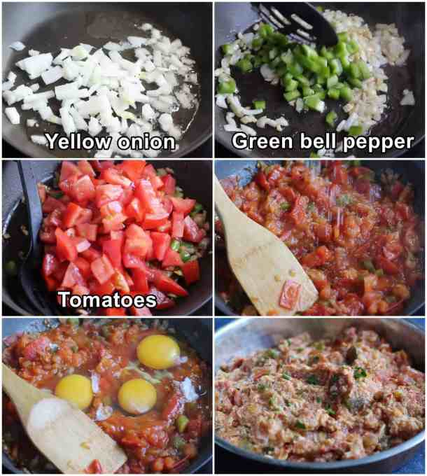 saute onion with pepper and then add tomatoes. Add eggs and mix until cooked. Serve warm.