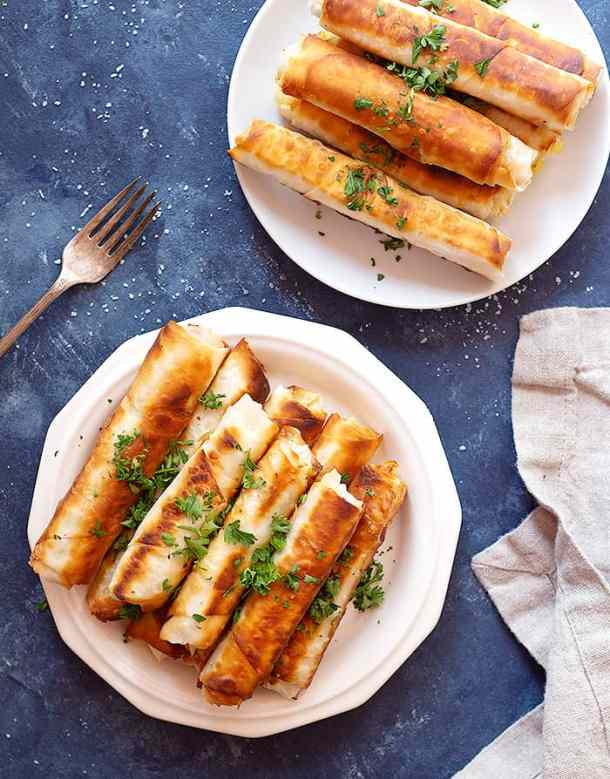 Turkish cheese rolls made with yufka dough and fried in a pan.