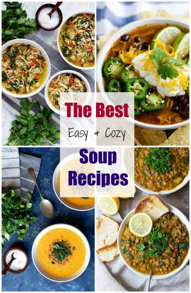 The best easy and cozy soup recipes to warm you up in the cold season. You can find vegetarian, vegan and gluten free soups here.