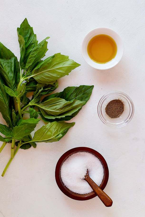 to make basil oil you need basil, olive oil, salt and pepper.