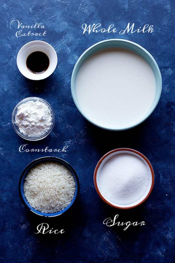 ingredients to make this Turkish recipe are rice, milk, vanilla extract, sugar and cornstarch.