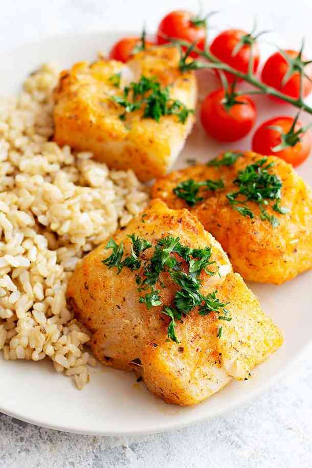 Delicious parmesan baked cod served with brown rice.