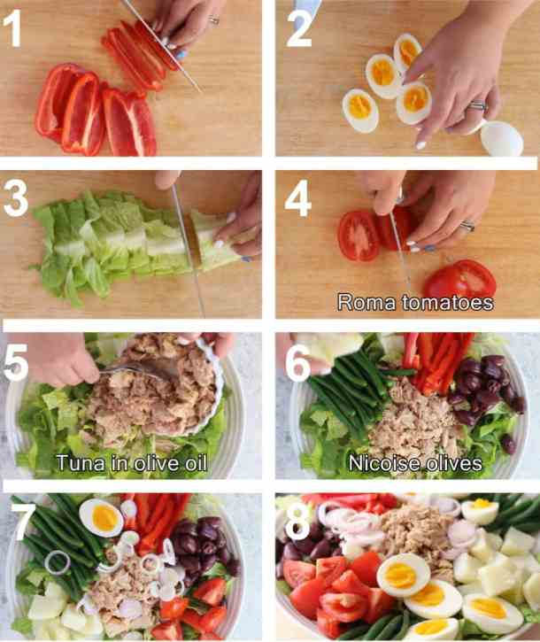To make this salad, chop all the veggies and slice the eggs. Assemble the salad with tuna, green beans and other ingredients. Serve with the dressing.