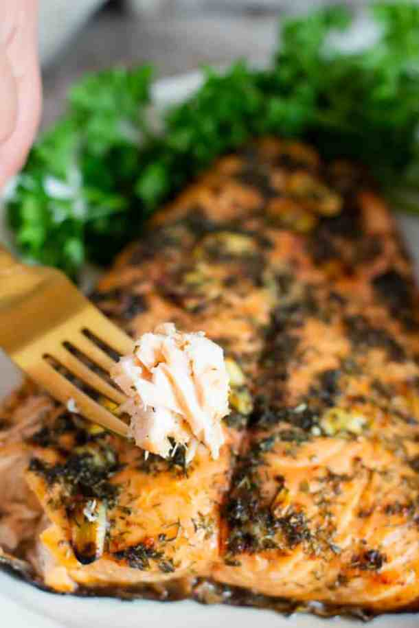 salmon marinated with Mediterranean spices is easy and tasty.