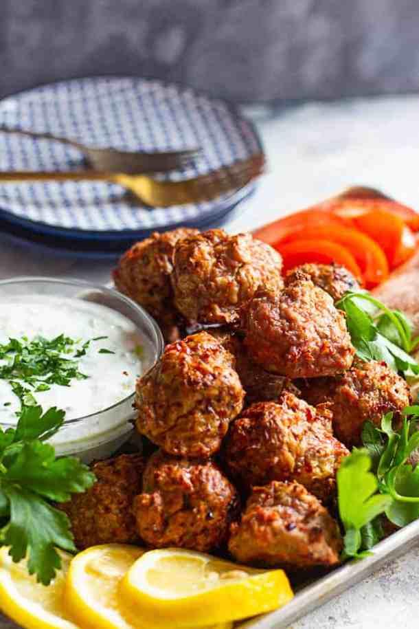 Serve these with pita, veggies and tzatziki sauce.