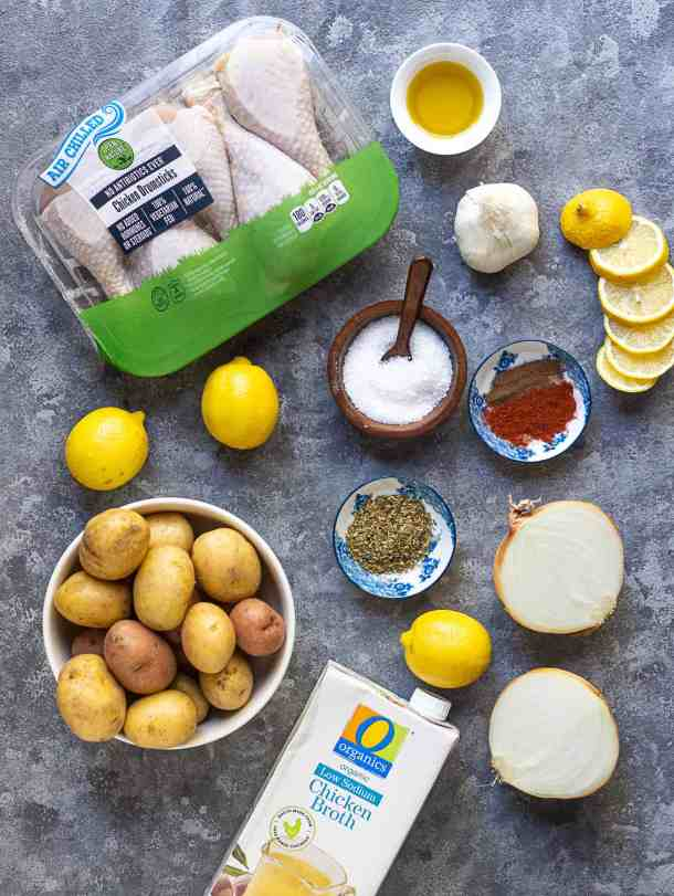 To make this recipe you need drumsticks, potatoes, onion, garlic, spices, olive oil, lemon and chicken broth.