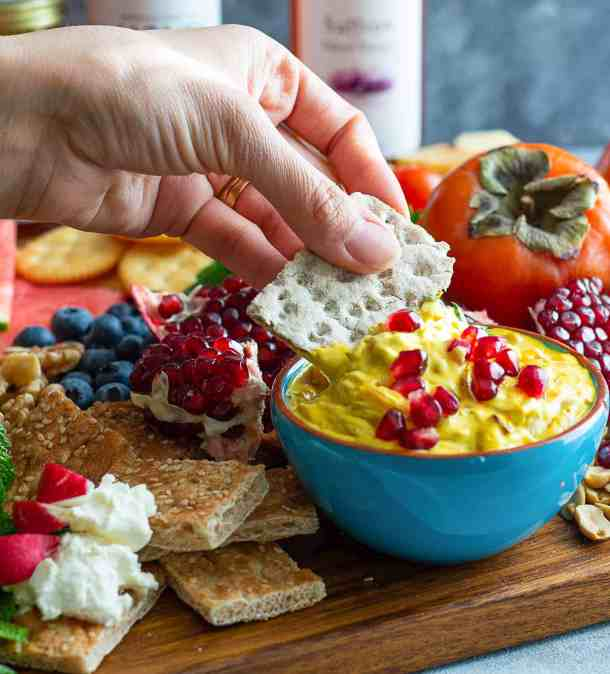 serve saffron caramelized onion dip with crackers or bread