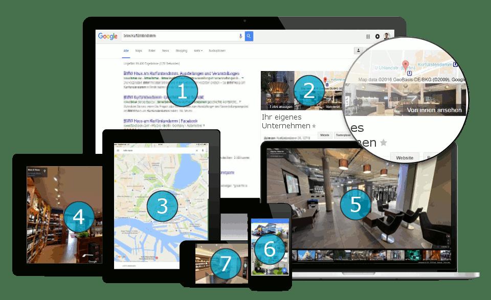 UNICORNSULT Google Business View Responsive Laptop Computer 360 Grad Rundgang virtuell Handy Tablet VR Brille von innen ansehen see inside trusted maps plus unternehmen tour 1 2 3 4 5 6 7