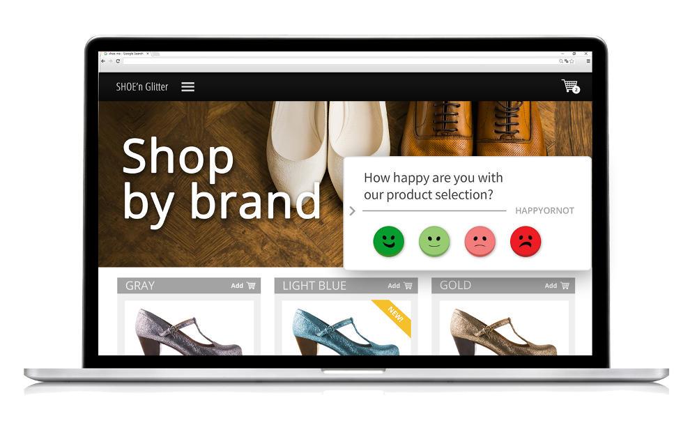 HappyOrNot Happy Or Not Websmileys Onlineshop Produktauswahl Feedback Bewertung Frage Umfrage Einkauf Bewertung