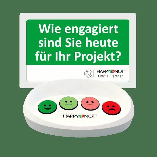 HappyOrNot Happy Or Not Smiley Terminal Gerät Buttons Wie engagiert sind Sie heute für Ihr Projekt Mitarbeiterzufriedenheit Mitarbeiterbefragung